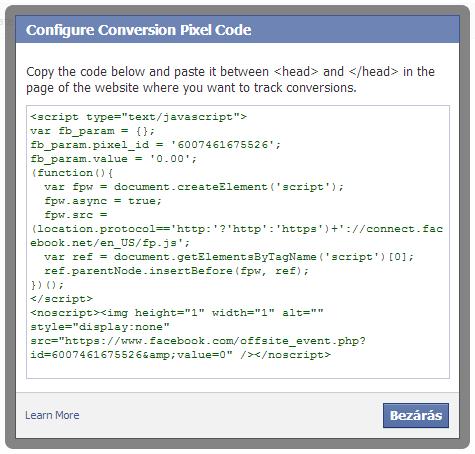 Facebook hirdetések konverziókövetése - Tracking Pixel kód