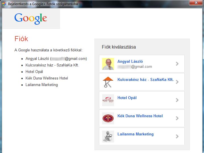 Google+ Fiók kiálasztása