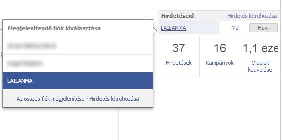 Facebook adminisztrátorok profiljain összefoglaló a hirdetési fiókról